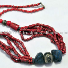 Multi Strand 2019 fashion red necklace coral bead red stone necklace