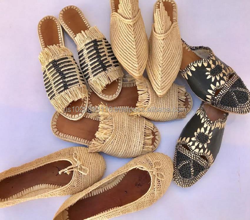 Top Quality Handmade Moroccan Raffia Slipper Shoes selection