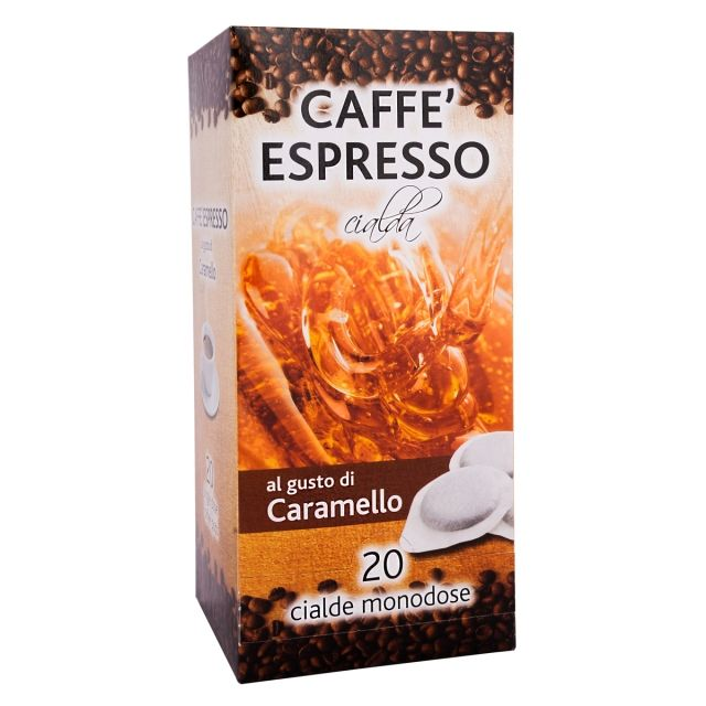 ITALIAN FLAVOR COFFEE PODS- 20 PODS BOX CARAMEL- GROUND COFFEE PODS