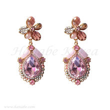 High Quality Silver Stud Handmade Luxury Pink Crystal Bead Chandelier Earrings