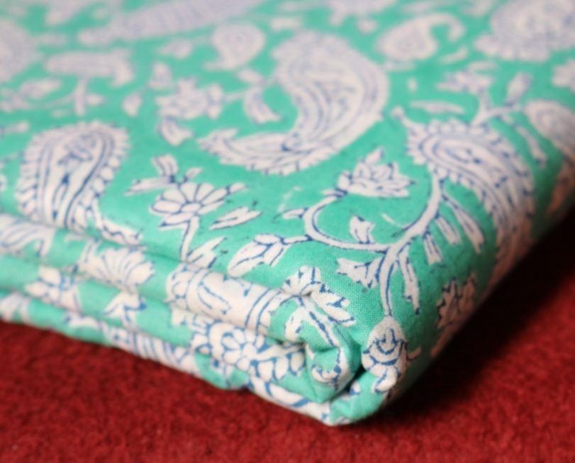 Block Printed Paisley Multi Color Cotton Fabric Sanganeri Jaipuri Wholesale Textile / Fabric / 100% Cotton Fabric