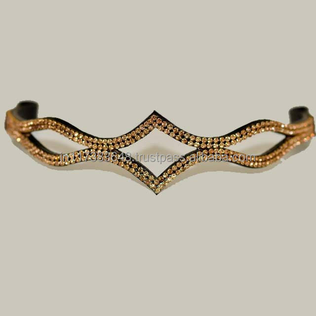 Wholesalers of Golden Crystal Brow Band For Racing Horses