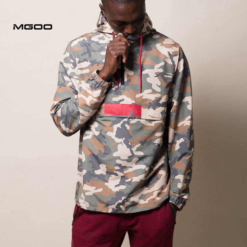 MGOO Cool Outerwear 1/4 Zip Up Front Flap Pocket Pullover Camo Anorak