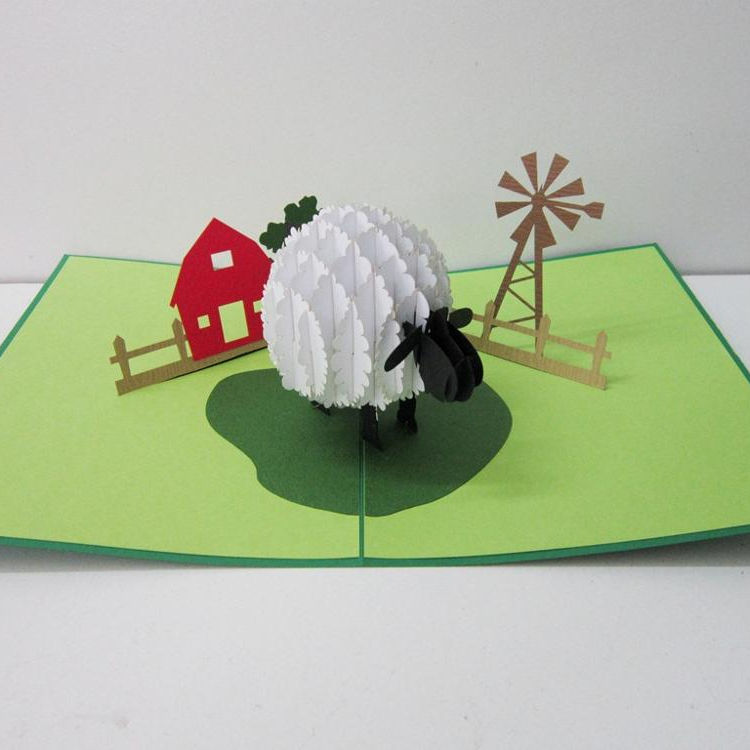 Viet nam supplier greeting card/ 3D pop-up card/ Sheep popup card