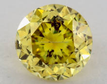 0.54 Natural Diamond Round Shape GIA Certificat Fancy Intense Color Yellow