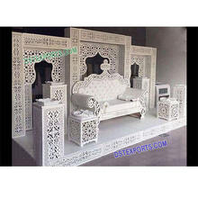 White Wedding Theme Bollywood Stage Arabian Reception Stage Setup Visually Grand Look Stage Set