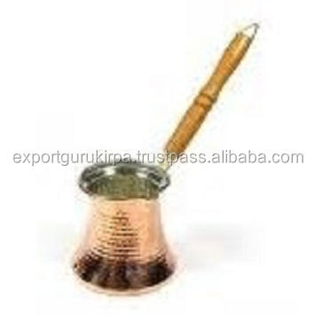 Turkish Copper Coffee Pot with Wooden Handle and Antique Copper Mirror Polish