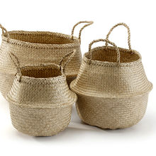 Hot sales natural seagrass belly basket for eco-friendly home decor vintage foldable plant basket from Vietnam