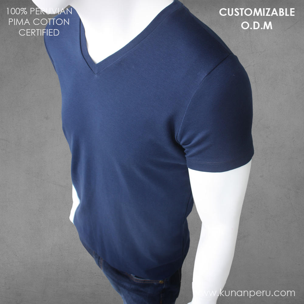 100% peru pima cotton blank t-shirt customizable. ODM SERVICE. Made in Peru.