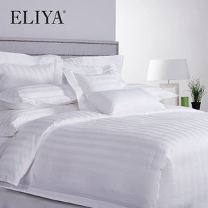 ISO9001 Luxury 5 Star Quality Stripe White 100 Cotton Linen Sheet Bedding Set Hotel Bed Sheets