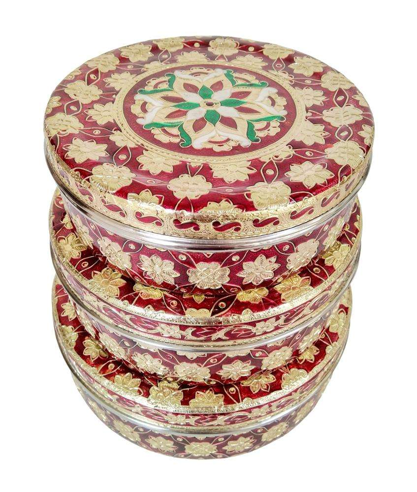 "BIG RED FLOWER DESIGNED STAINLESS STEEL MEENAKARI DECORATIVE CONTAINER WITH LID-GOLDEN MEENA (7.5"" x 7.5"" x3"" INCHES)"