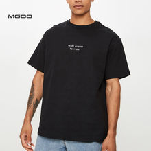 MGOO Oversized Heavy Cotton Black Color Hip Hop Custom Embroidery Letter T Shirts