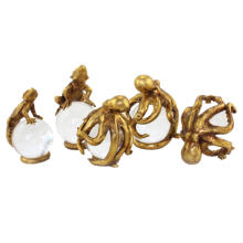 Resin Gold Octopus Sculpture Lizard Statue with Crystal Ball Home Decor