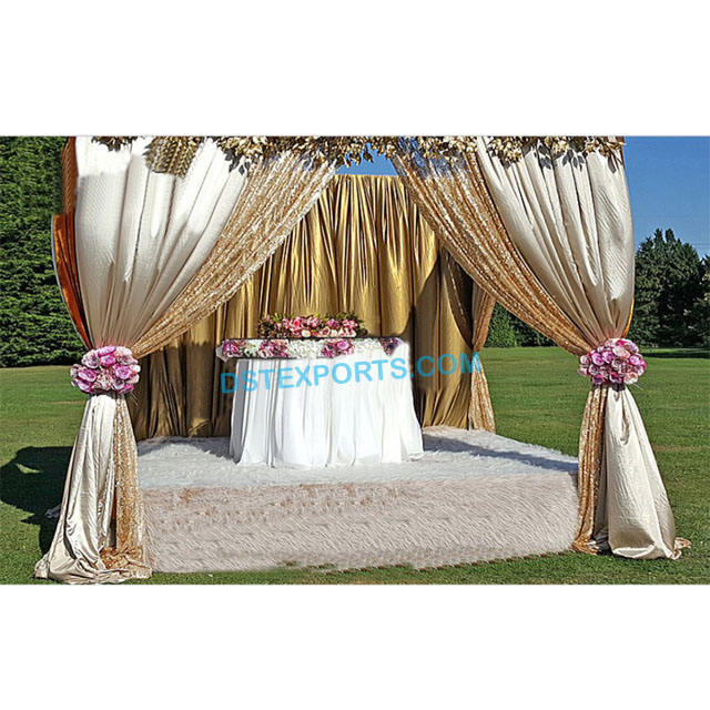 Glittering Golden Curtains and Drapes Beautiful Backdrop For Mehndi Stage Royal Indian Wedding Stage Back Drop Curtain