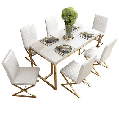 cheap dining room furniture table set white gloden glass top Modern home Furniture stainless steel dining table and chair sets