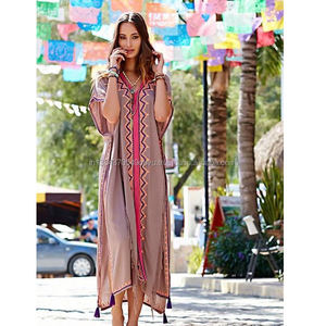 2019 Beach Bohemian Embroidered Ruffles Cloak Sleeve Women's Maxi Dress Sexy Side Slit Boho Chic Moroccan Kaftan Brand Clothing