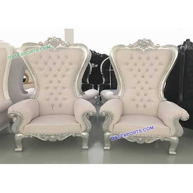 Wedding Event Royal silver Carved Chairs, Bride and Groom Wedding Chairs Decoration, Wedding Throne Chairs For Sale