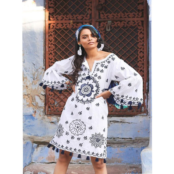 Traditional Suzani Embroider Maxi Women Relax Fit Boho Lady Mini Dress Wide Sleeve Tassel Decoration Vintage Dream Hippie Tunic