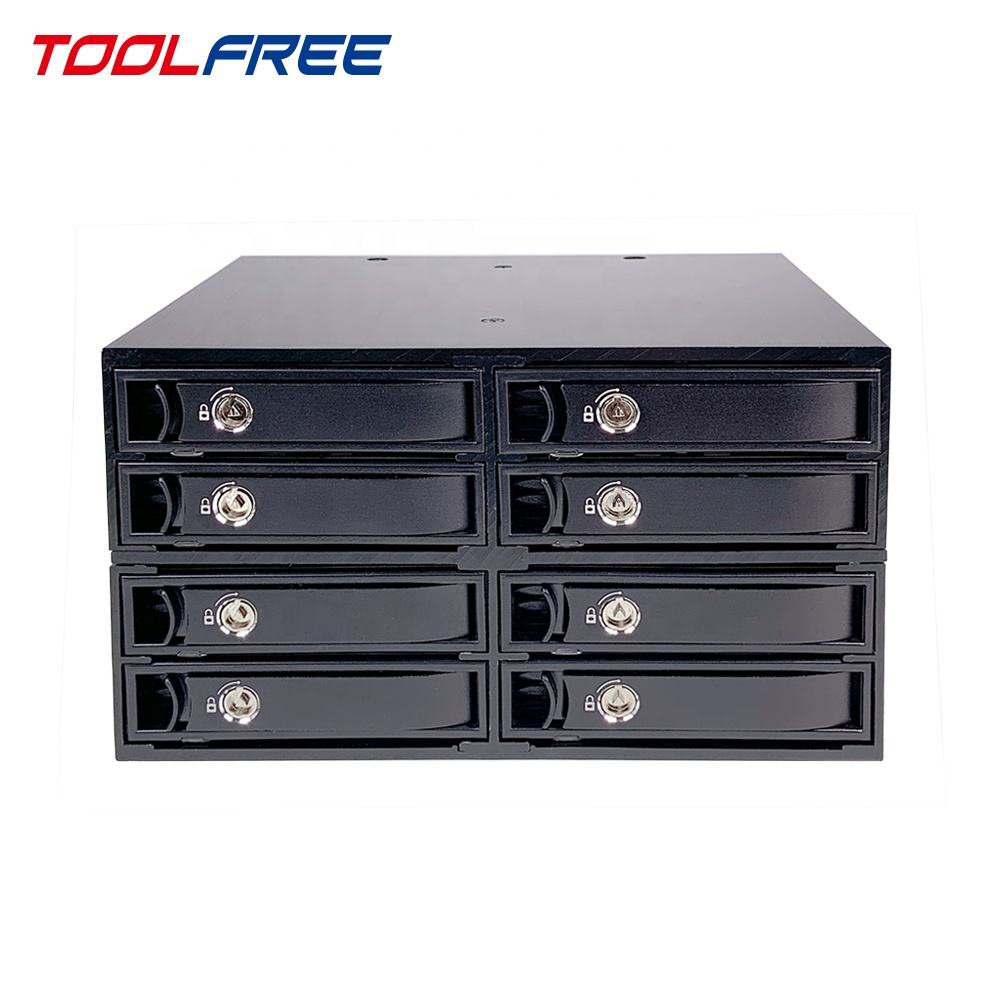 TOOLFREE 2.5 inch 8 Bay SAS 12G SATA 6G Mobiele Rack SSD/HDD Behuizing HDD Case Caddy 15mm Lade Alle Metalen