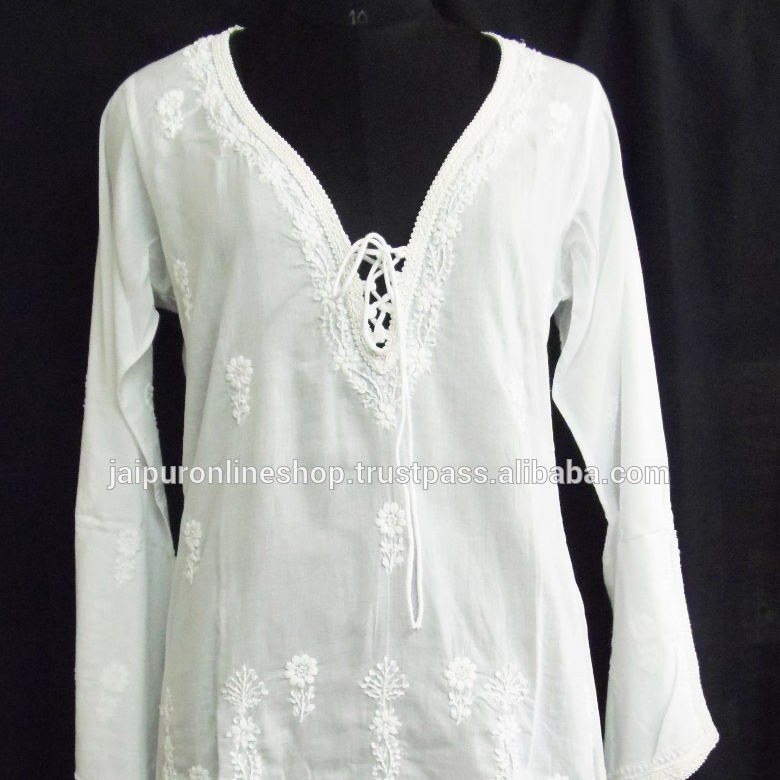 New Arrived Women's Fashion Kurties /Ladies cotton white tunics/Evening Dress