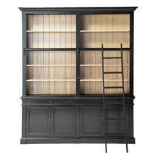 Wooden Living Room Furniture Bookshelf Cabinet Style Sliding Doors Bookcase