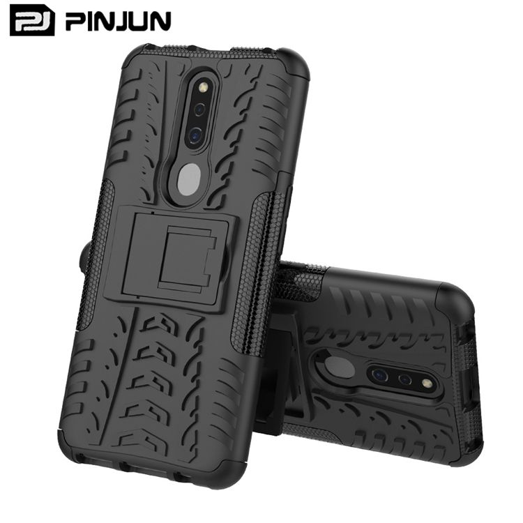 Dual layer 2 in 1 pc tpu band textuur armor shockproof hybrid phone case voor Oppo <span class=keywords><strong>f11</strong></span> pro stand cover