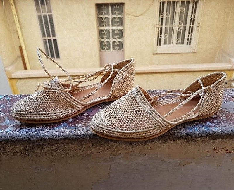 Raffia Flat Shoes For Woman