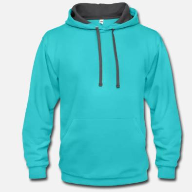 Sky blue and asphalt color combination pullover unisex hoodie available with sublimation and custom logo options