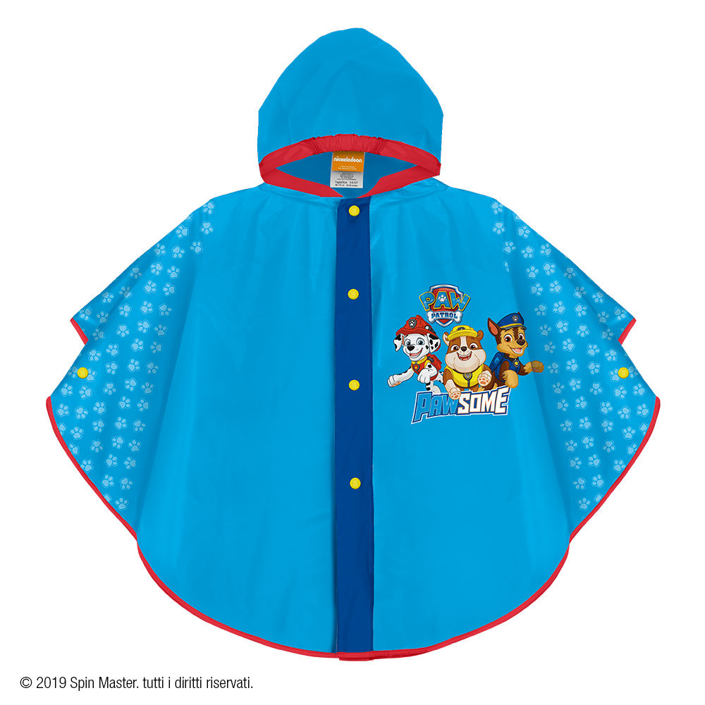 PERLETTI Disney Minnie Waterproof Cape for Children Windproof Kids Raincoat with Buttons Girl Minnie Mouse Poncho with Fuchsia Details