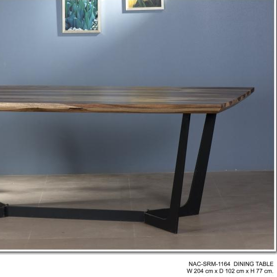 high quality modern Industrial and antique vintage iron metal legs and acacia wood live edge Dining Table 6 to 8 seater
