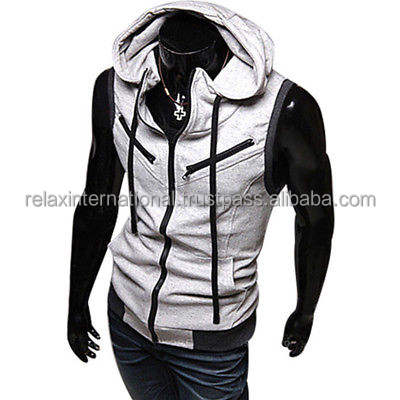 Men Fleece Hoodies Sleeveless Zipper Jackets Vest Waistcoat Hooded Sweatshirt Coat
