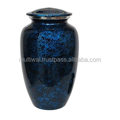 Funeral Supplies Blue metal cremation adult urns burial Cremation funeral casket urn for human Ashes