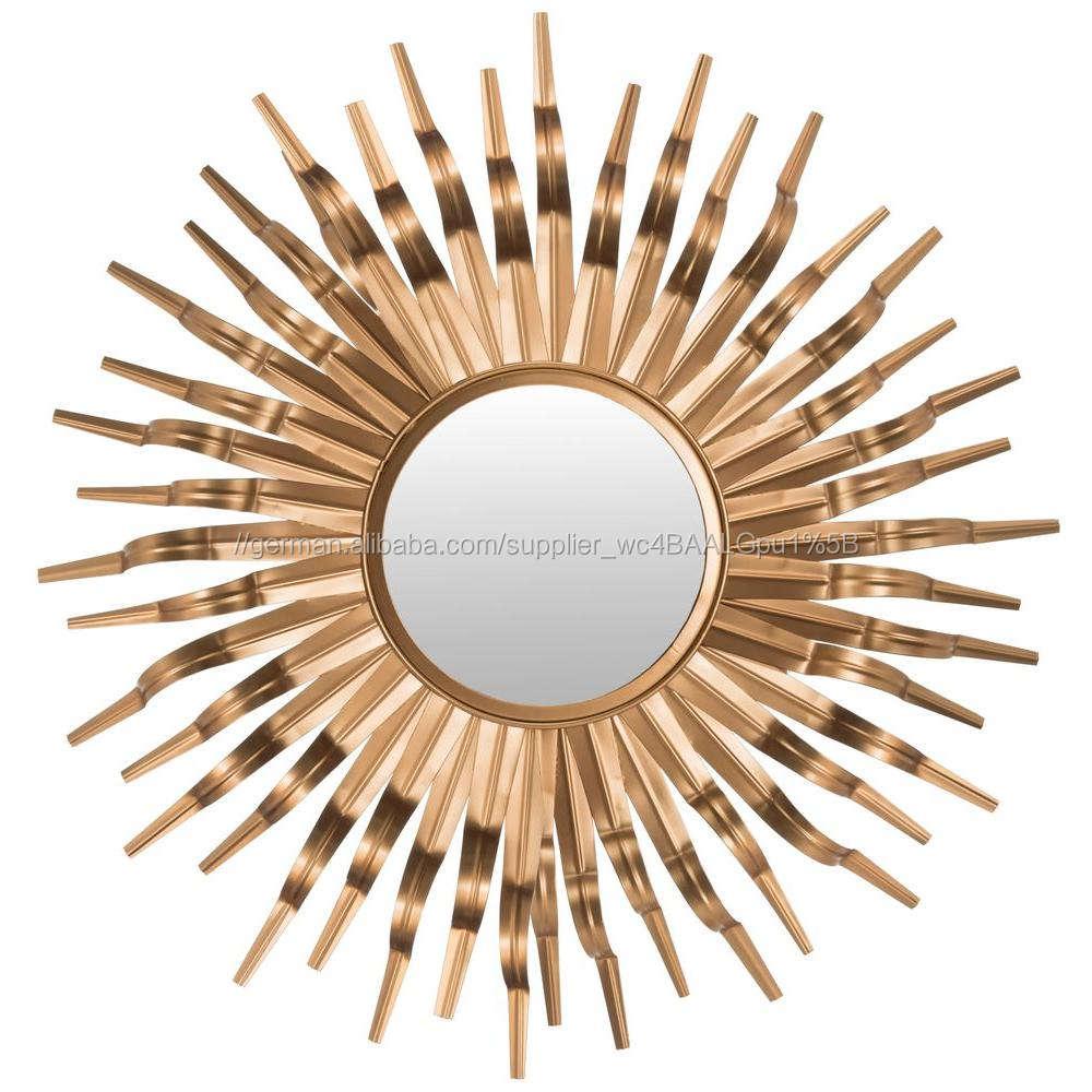 Wandkunst Metall Sonne Spiegel in Gold & Verbrannt <span class=keywords><strong>Kupfer</strong></span> <span class=keywords><strong>Finish</strong></span>