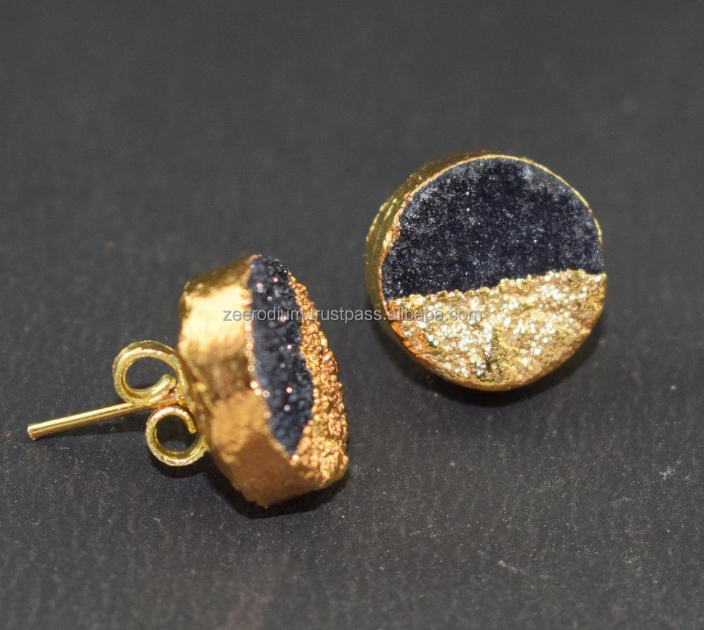AAA 1 par druzy Stud Tiny Geode regalos para ella electroformed pendiente hermoso de la <span class=keywords><strong>joyería</strong></span>