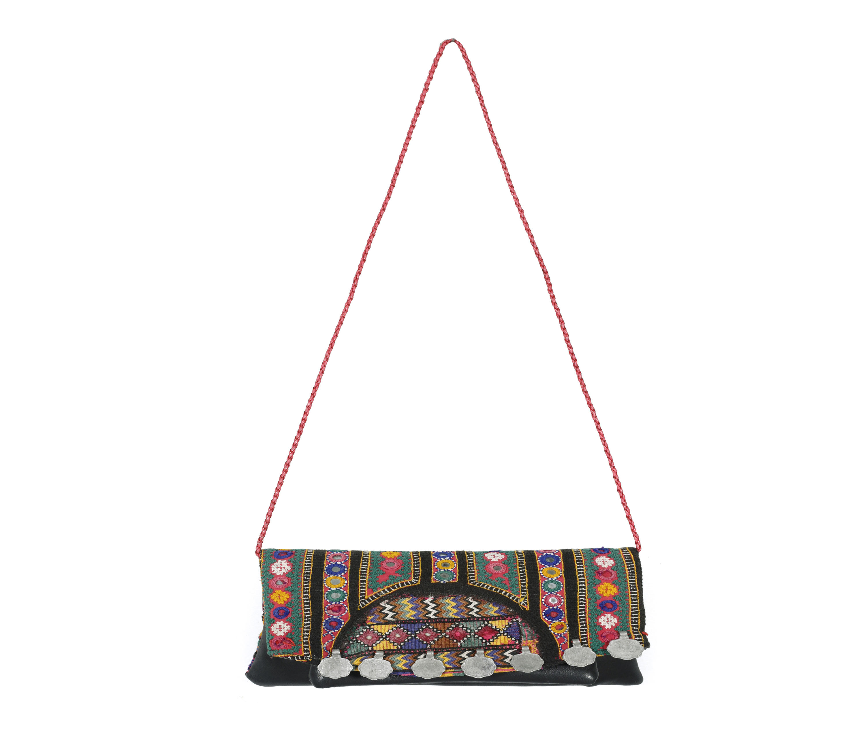 Banjara embroidered clutch purse messenger cross body bag Indian leather bag