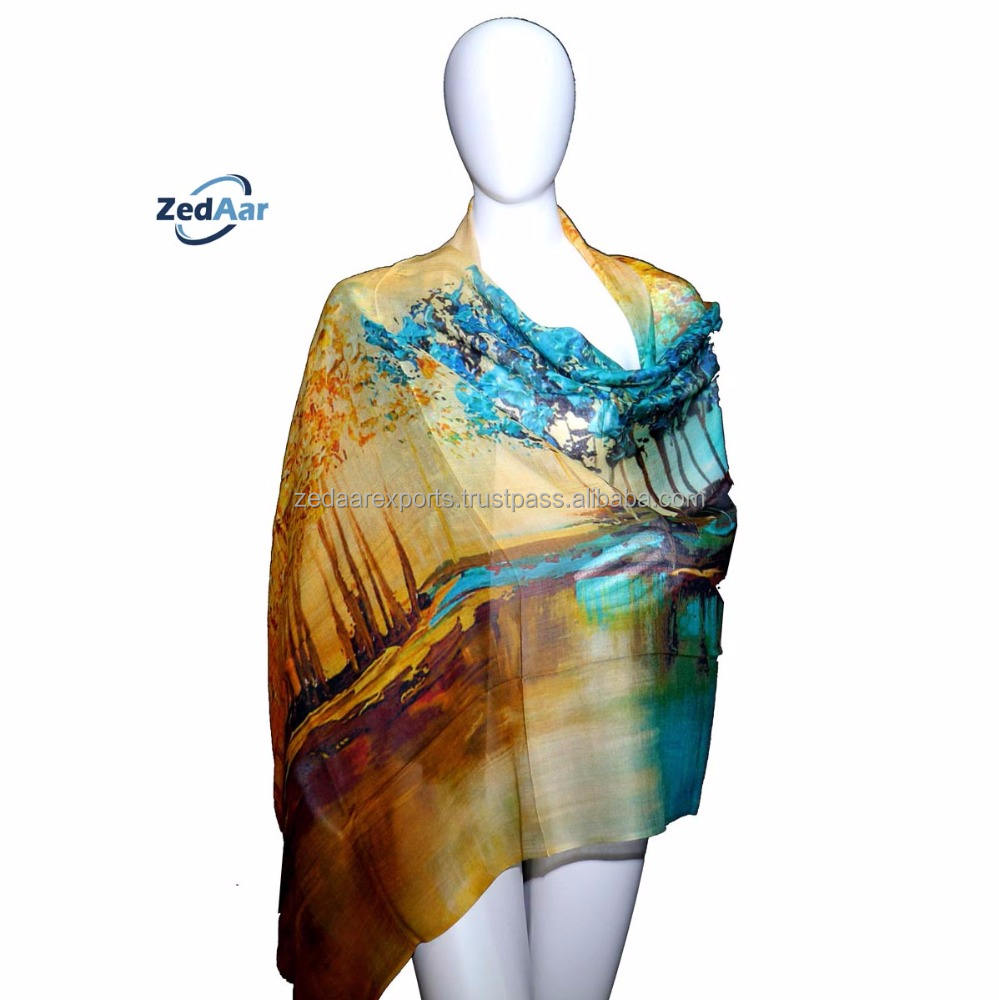 custom Digital printed MODAL CASHMERE Scarves scarf 2020