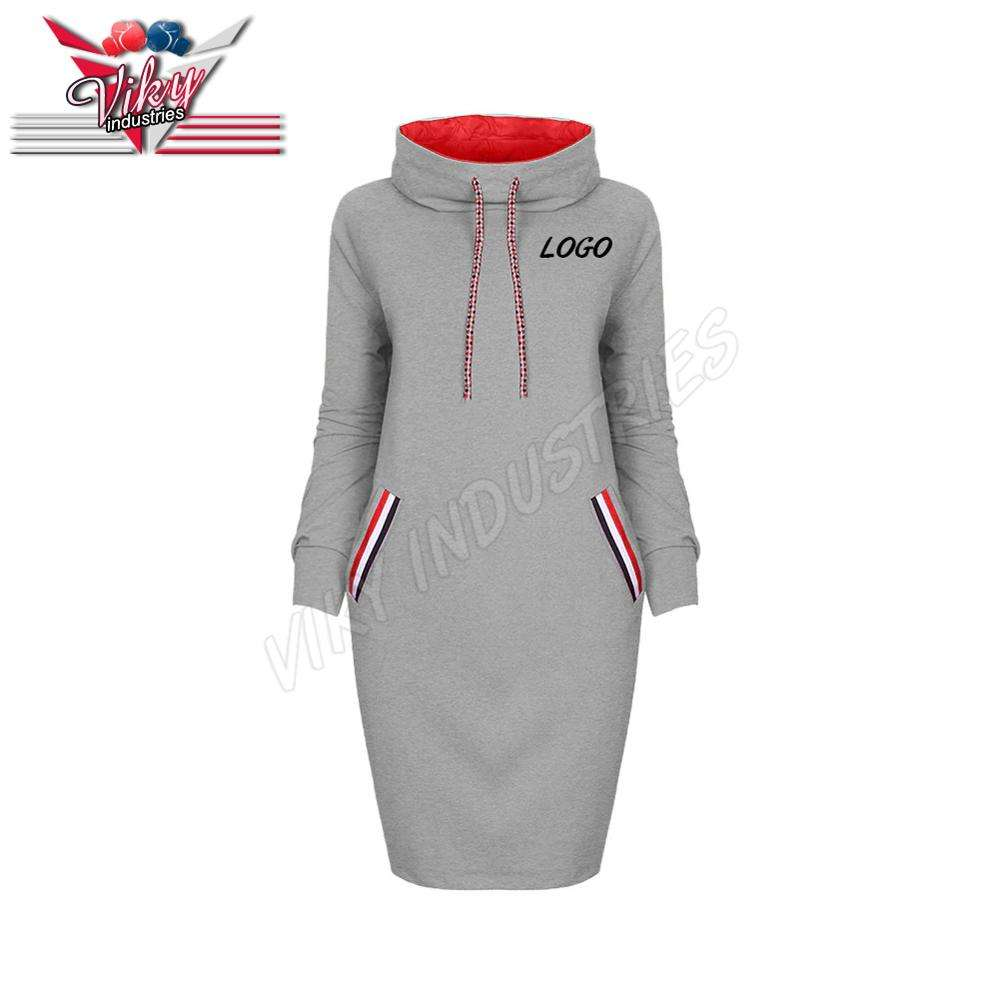 Fashion Women's dress Sweatshirt Autumn Pullover hoody Dress Long Sleeve Cotton Hoodie Sweatshirt