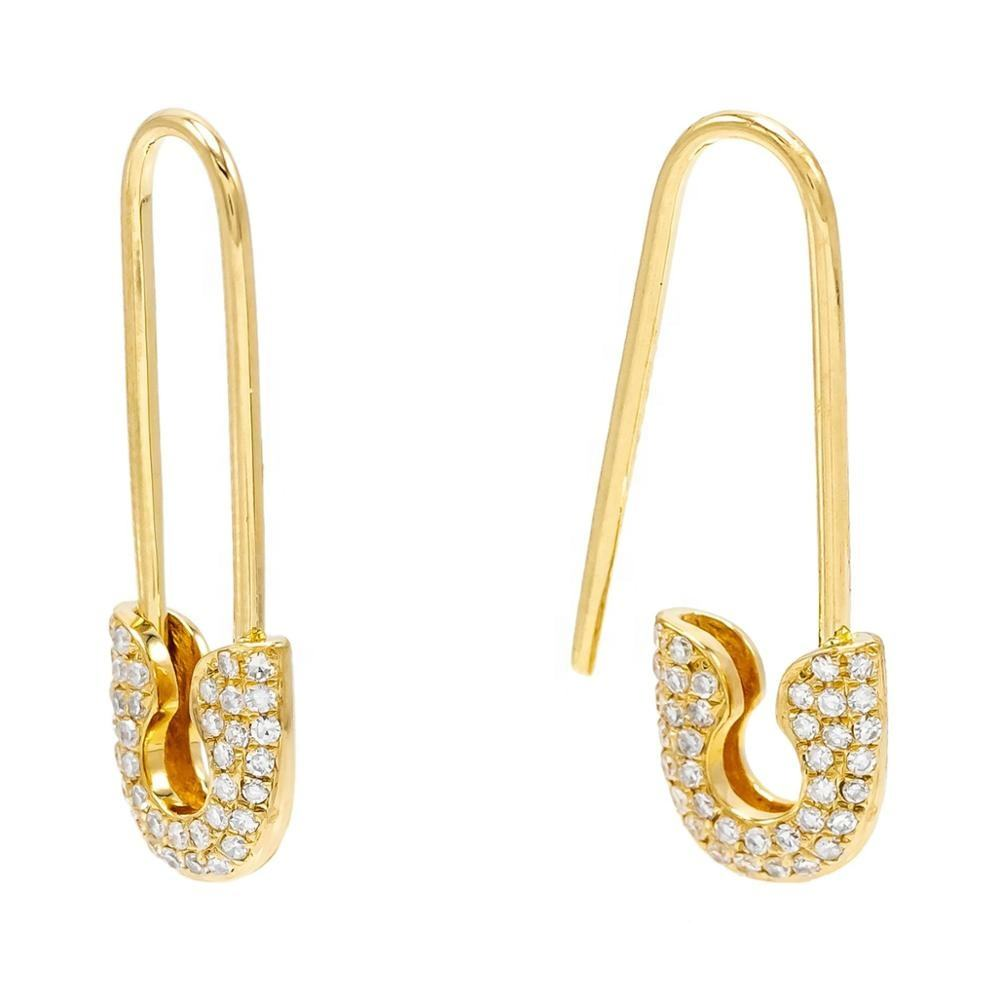 Korean Micro Pave Jewelry 925 Sterling Silver Model Safety Pin Earring