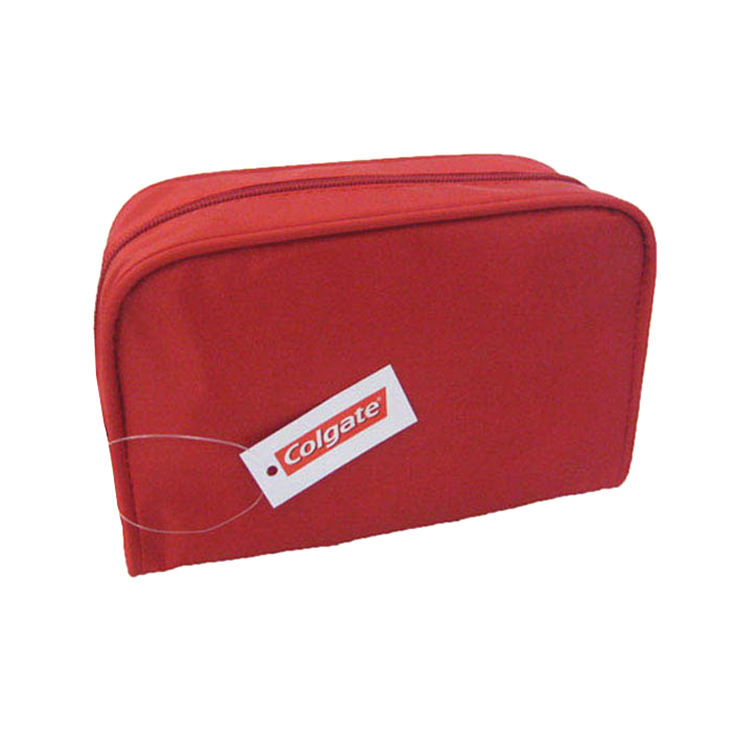 Stylish Fashion High Quality Cheap Rectangular Polyester Red Make up Cosmetic Bag