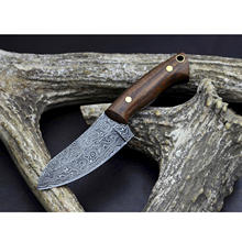 Damascus Knife Custom Handmade Damascus Hunting Skinning Knife in Rose Wood Brass Pins OAL 6 inches with Leather Sheath
