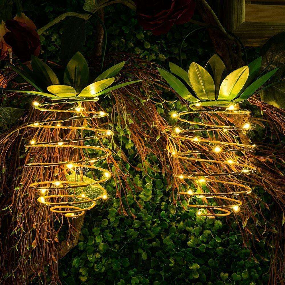 LED Solar Powered copper wire iron Outdoor Christmas party holiday hanging decoration garden fair Solar pineapple lights