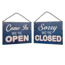 Custom Factory price decorative Wholesale BVintage Funny Metal Open And Closed Metal Hanging Shop Door Sign
