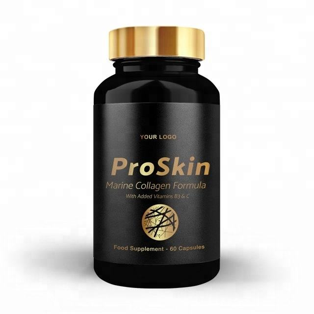 Gold Pro Skin - Health Food Supplements Vitamins Minerals - Round Premium Bottle - Private Labelled - Wholesale Diet Supplements