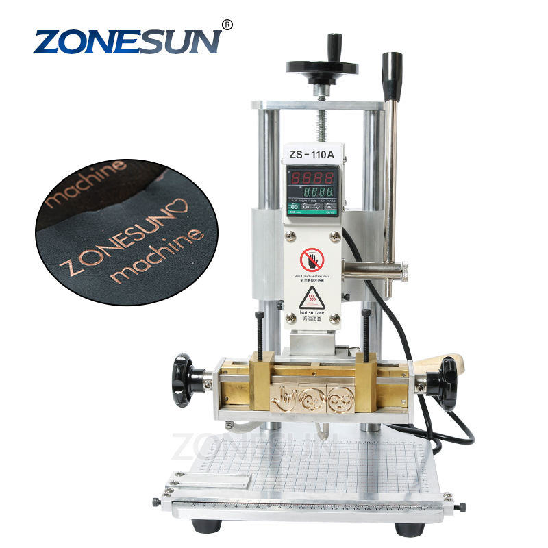 ZONESUN ZS110A 110V/220V DIY Gift PVC LOGO Leather Hot Foil Stamping Bronzing Embossing Machine Heat Press Machine