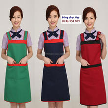 HL020937 High quality apron, wholesale price brown 94% cotton  customized logo adjustable  aprons for the restaurant by HALIMEX