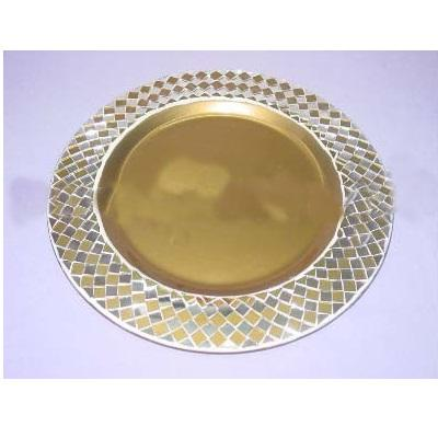 WEDDING ROUND CHARGER TRAY WITH CLEAR MOSAIC WORK