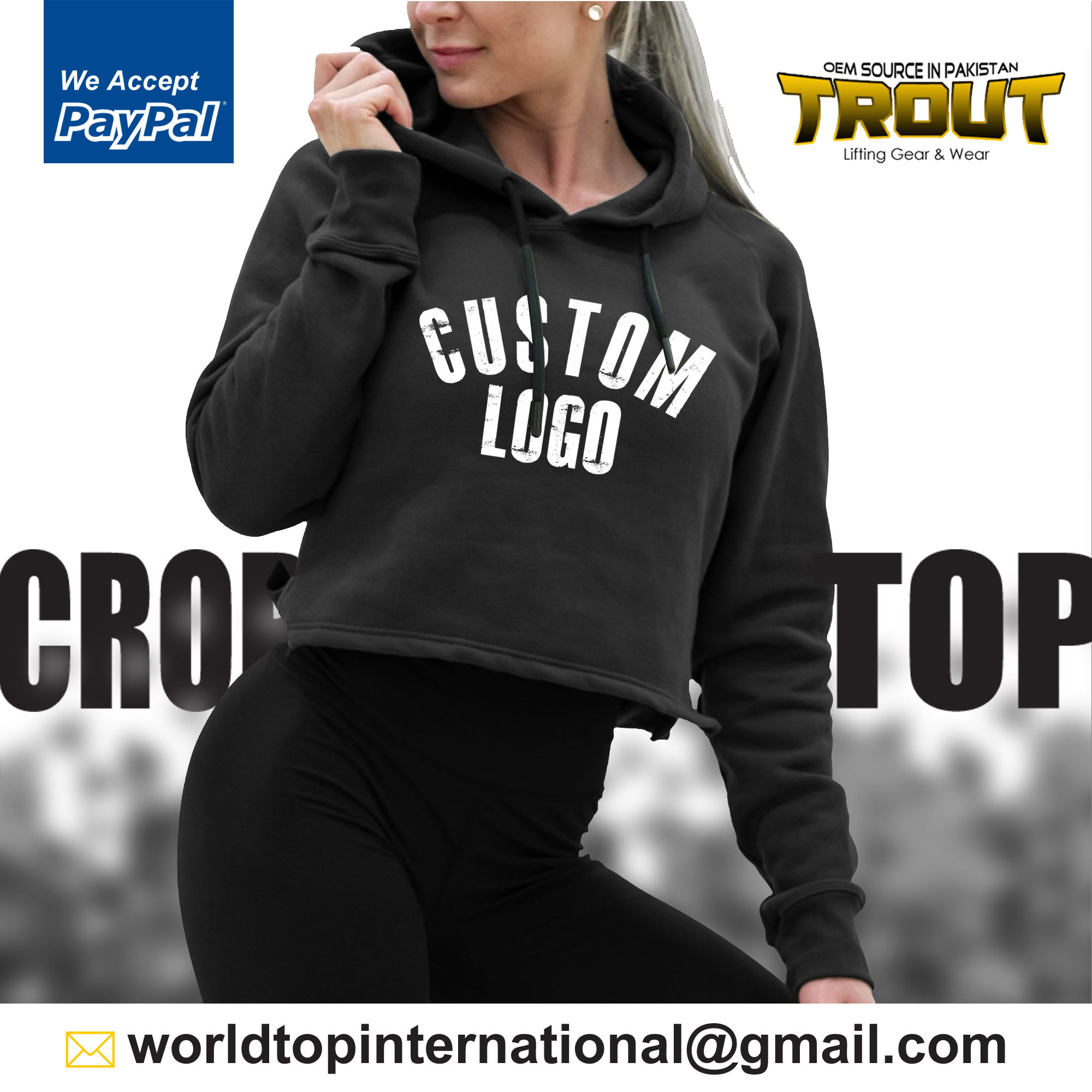 Women Trendy Sexy Hoodie Pullover / Crop Top Blouse Gym Sports Training Sweatshirt / Pull Over Full Length Sleeve Sweatshirt