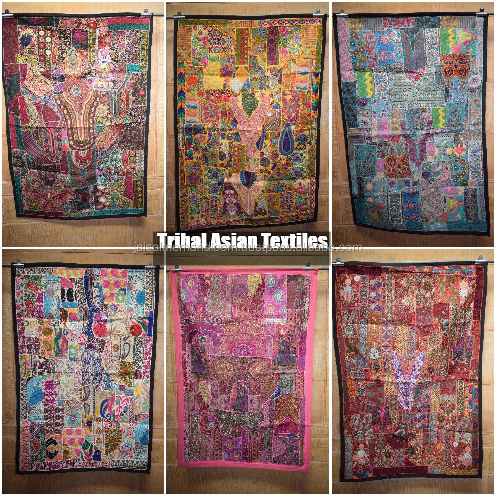 Indian Patchwork Wall Hanging Designer Made Of Old Textiles Embroidery