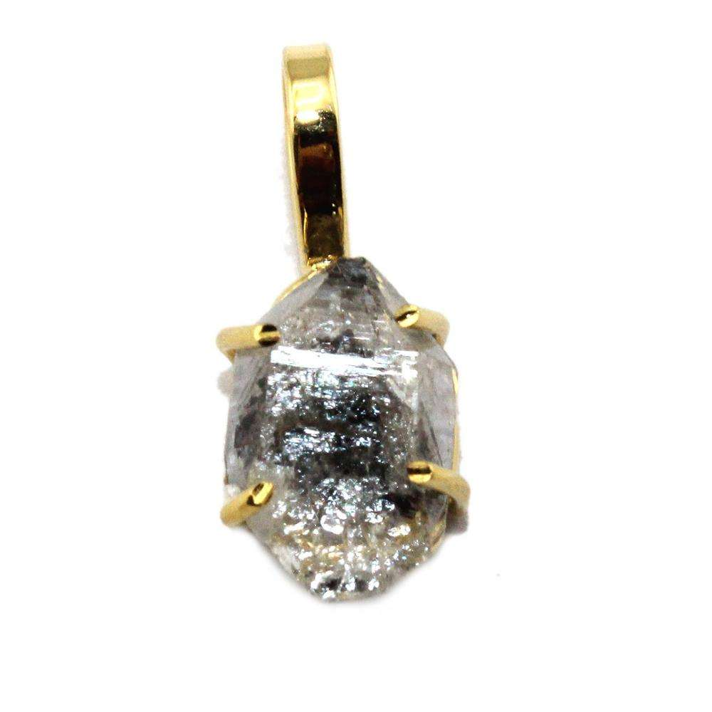 Herkimer Diamond Pendant Charm Dangle Drop 24k Gold Plated Necklace Jewelry