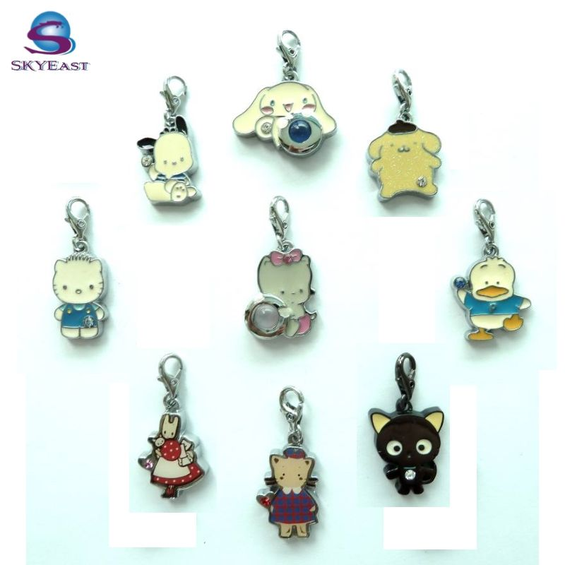 Promotional High Shiny Silver with Enamel or Epoxy colors Metal Pendants and Charms